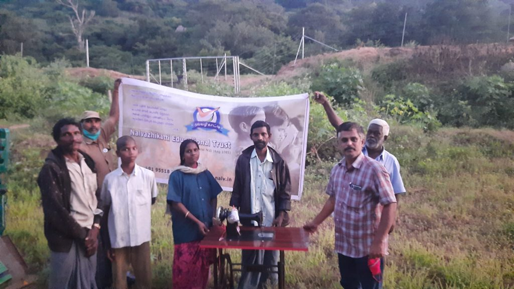 Given 2 sewing machine for 2 tribal destitute womens